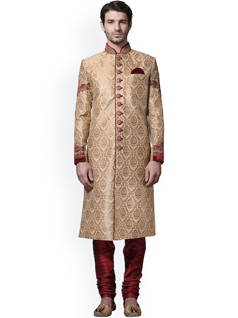Manyavar Beige & Maroon Embroidered Silk Sherwani  available at myntra for Rs.16999