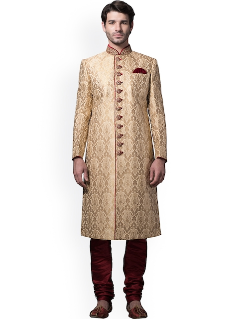 Manyavar Beige & Maroon Embroidered Silk Sherwani  available at myntra for Rs.15999