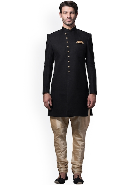 Manyavar Black & Beige Silk Sherwani  available at myntra for Rs.14999