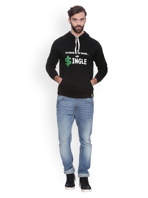 Campus Sutra Men Black Printed Hooded Sweatshirt