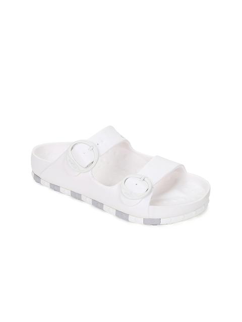 CCILU Unisex White Horizon Check Flip Flops