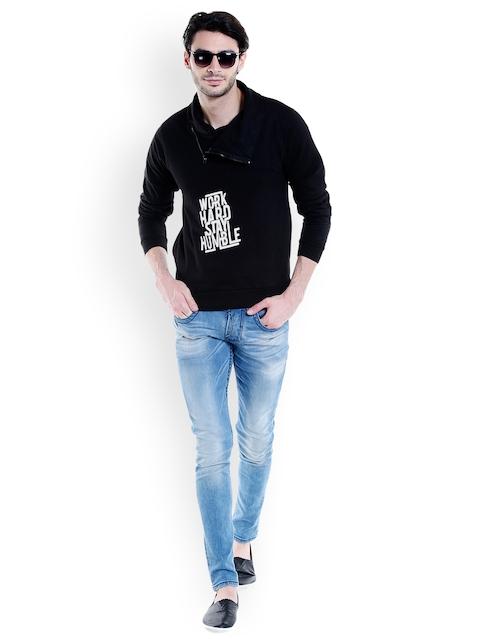 Campus Sutra Men Black Printed Sweatshirt