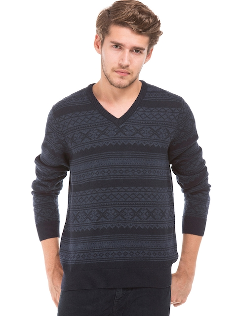 GANT Men Black & Blue Self Design Pullover