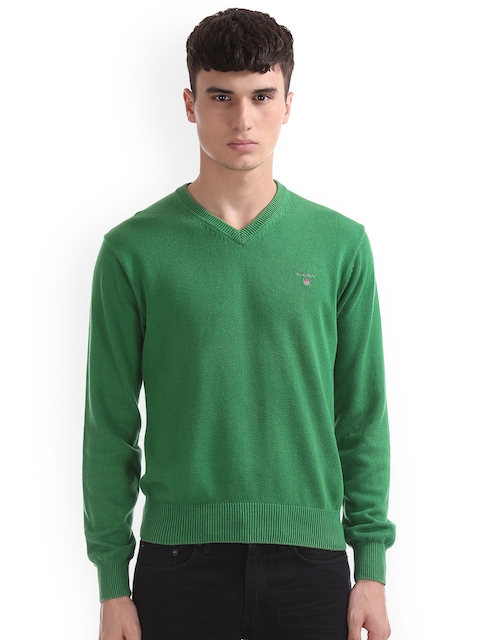 GANT Men Green & Charcoal Striped Pullover