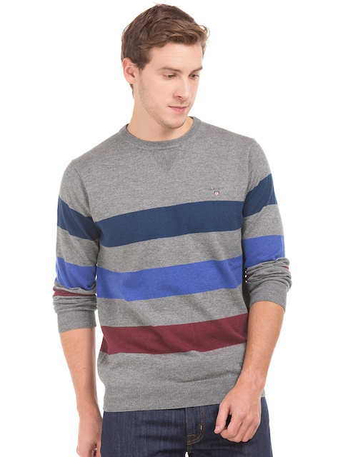 GANT Men Grey Striped Pullover