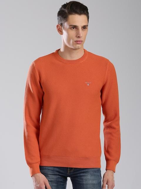 GANT Men Orange Self Design Pullover