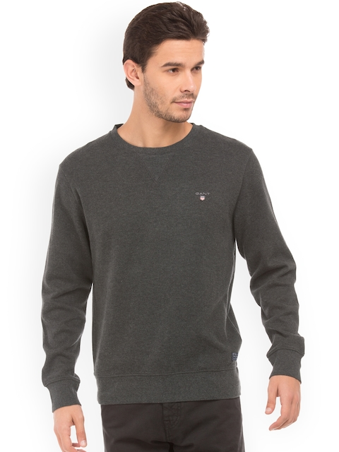GANT Men Charcoal Solid Pullover