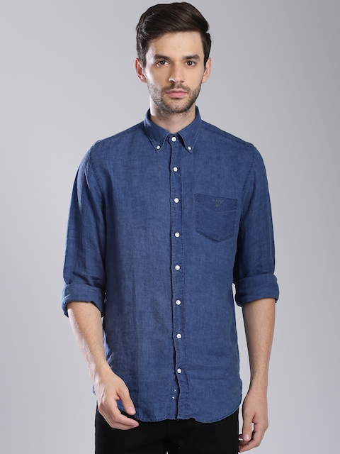 GANT Men Blue Regular Fit Linen Casual Shirt