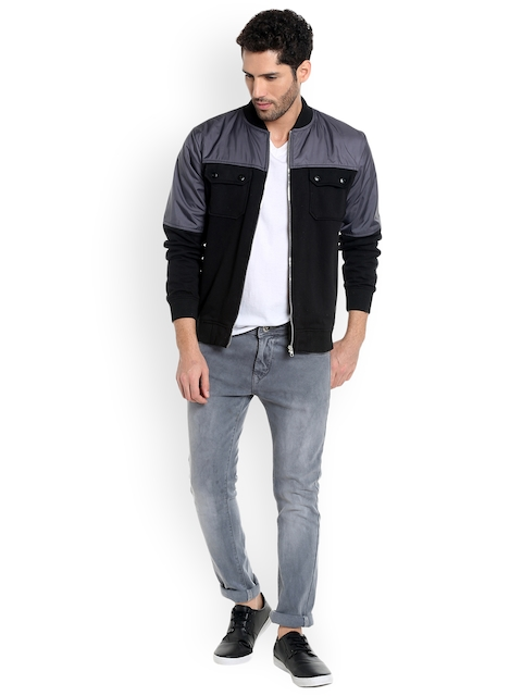 Campus Sutra Men Black Colourblocked Quilted Jacket