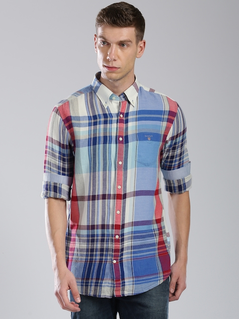 GANT Men Blue & Off-White Regular Fit Checked Casual Shirt