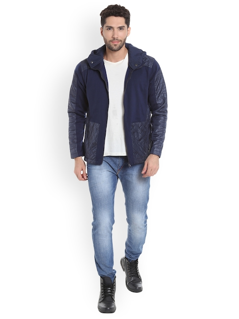 Campus Sutra Men Blue Colourblocked Hooded Quilted Jacket
