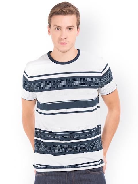 GANT Men White & Navy Blue Striped Round Neck T-shirt