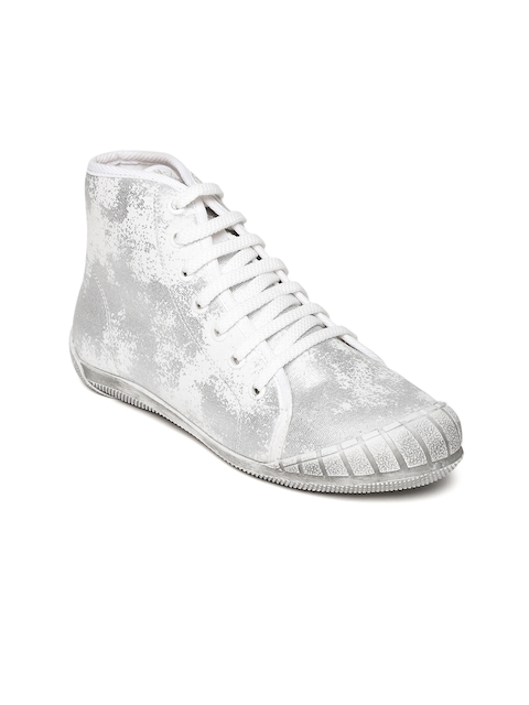 4b5c220d97 Catwalk Women Silver-Toned   White Printed High-Top Sneakers