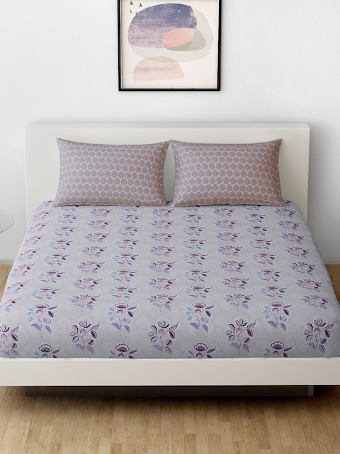 SPACES Grey & Purple Cotton 144 TC Double Bedsheet with 2 Pillow Covers