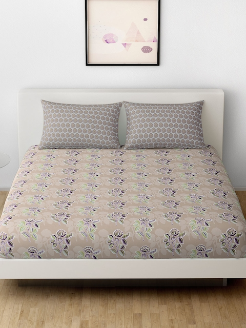 SPACES Beige & Purple Cotton 144 TC Double Bedsheet with 2 Pillow Covers