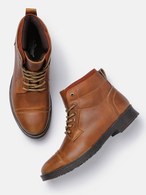 Roadster Men Tan Brown Solid Synthetic Flat Boots