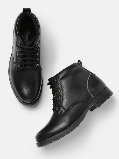 Roadster Men Black Solid Synthetic Flat Boots