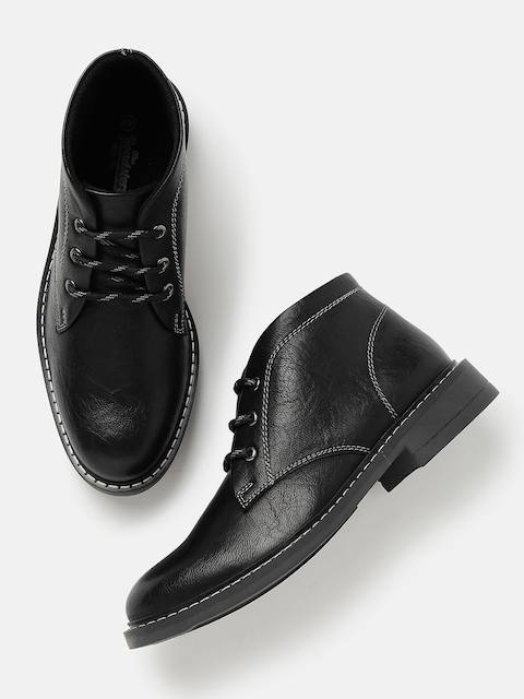 Roadster Men Black Mid-Top Flat Boots
