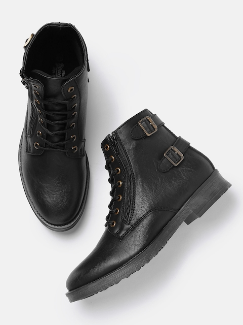 Roadster Men Black Solid Synthetic High-Top Flat Boots