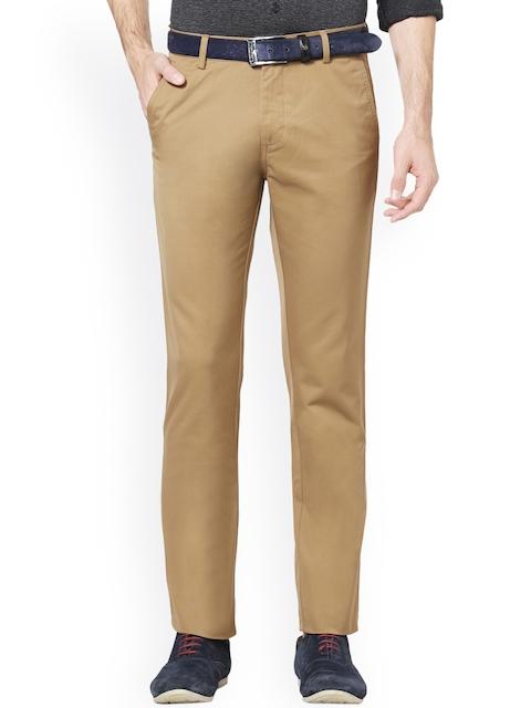 Allen Solly Men Brown Regular Fit Solid  Trousers