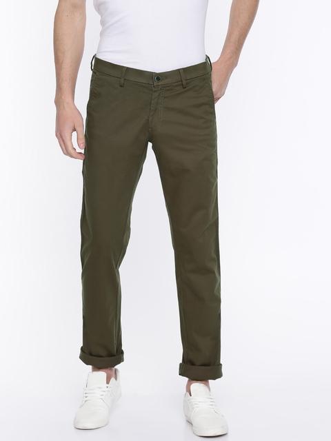 Allen Solly Men Brown Slim Fit Solid Trousers