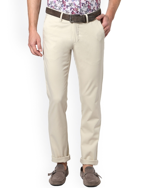 Allen Solly Men Off-White Slim Fit Printed Trousers