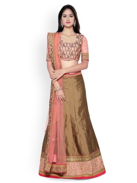 Aasvaa Brown & Peach-Coloured Embroidered Silk Semi-Stitched Lehenga Choli with Dupatta