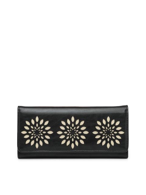 Butterflies Women Black Two Fold Wallet with Cut-Outs