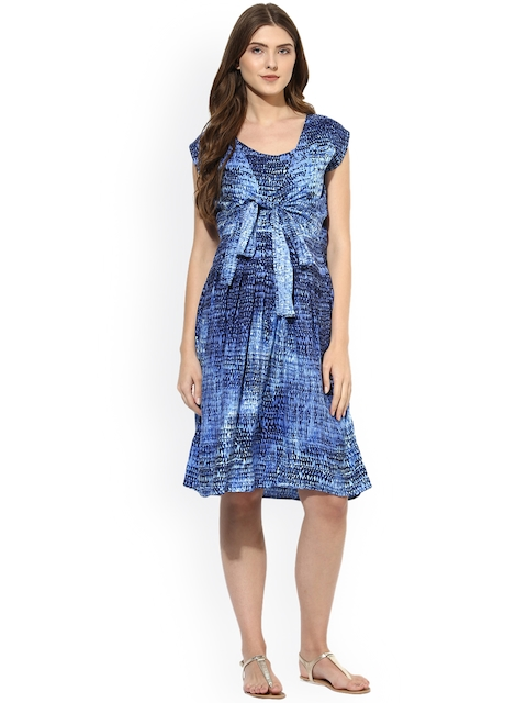 Mine4Nine Women Blue Printed Fit and Flare Dress