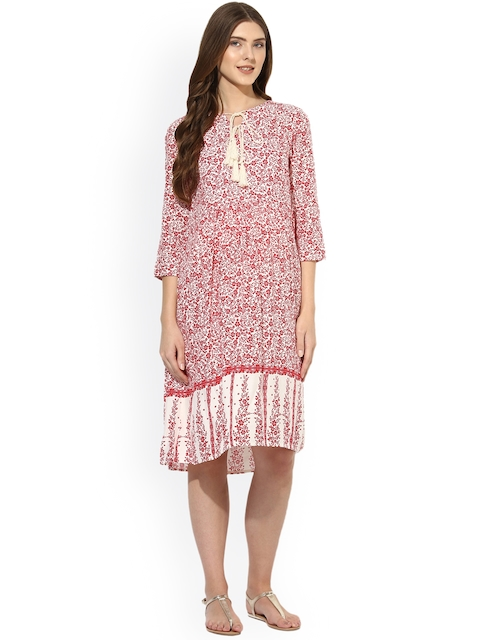 Mine4Nine Women Red Printed Fit and Flare Dress