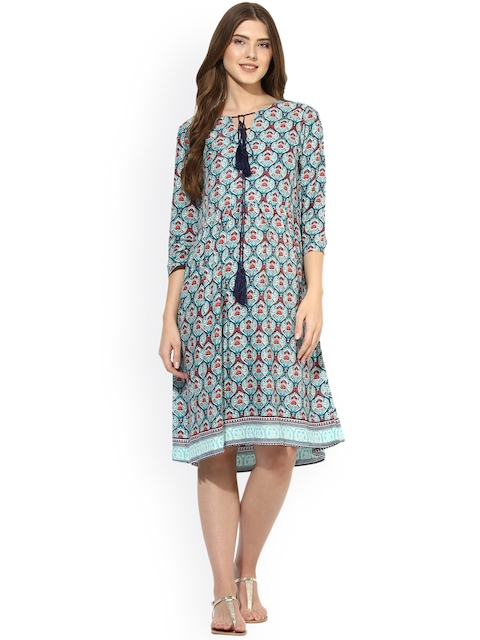 Mine4Nine Women Green Printed Fit and Flare Dress