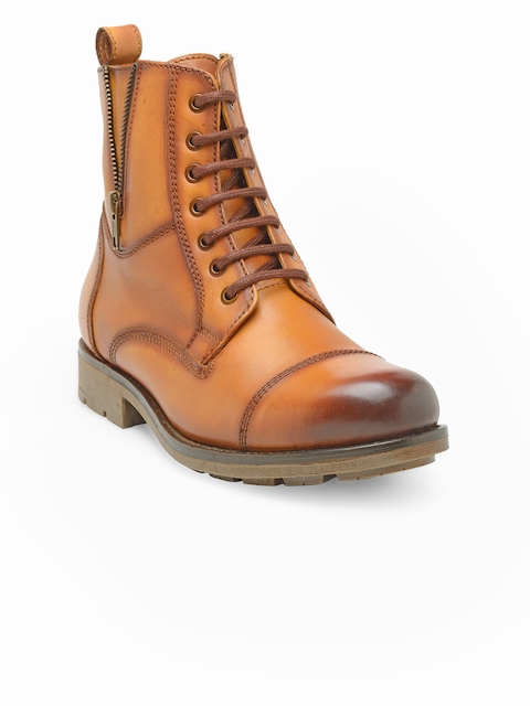 Teakwood Leathers Men Tan Brown High-Top Flat Boots
