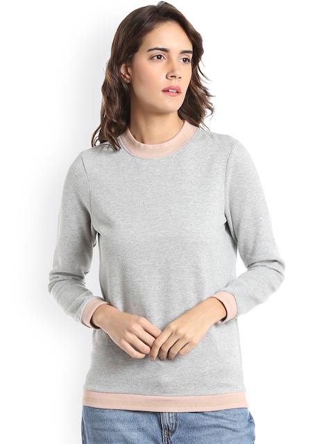 Vero Moda Women Grey Melange Solid Sweatshirt