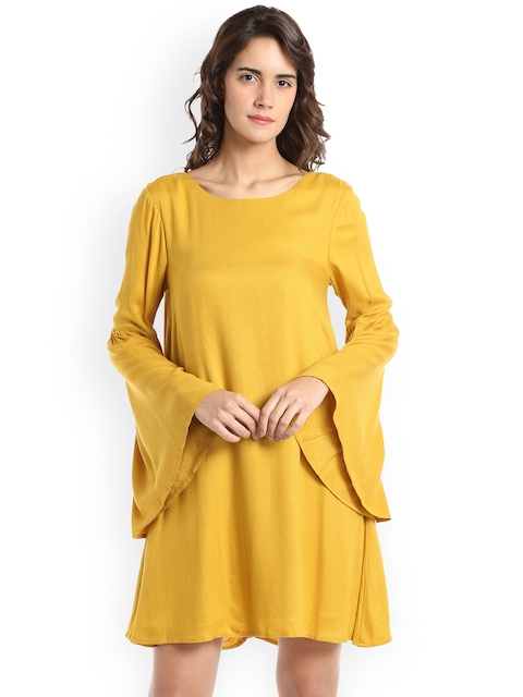 Vero Moda Women Mustard Yellow Solid Sheath Dress