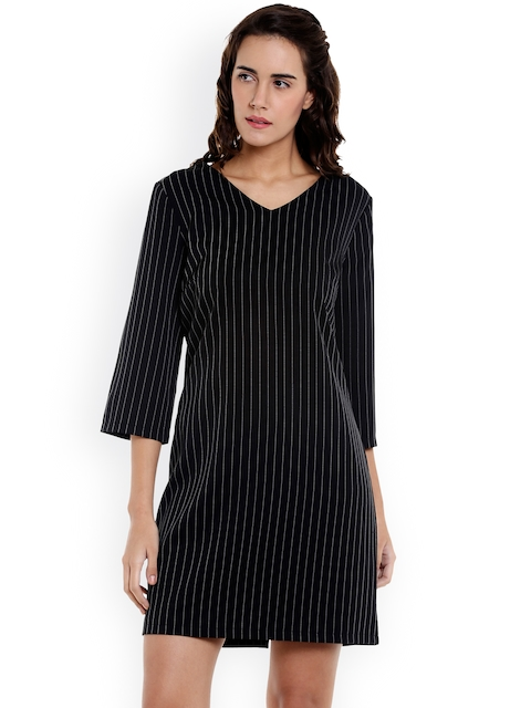 Vero Moda Women Black Striped Sheath Dress