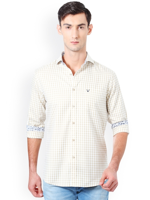 Allen Solly Men Beige Slim Fit Checked Casual Shirt