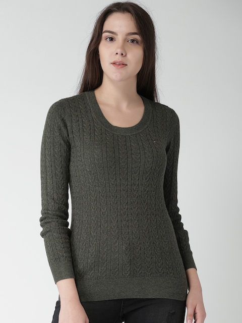 Tommy Hilfiger Women Charcoal Grey Self Design Pullover