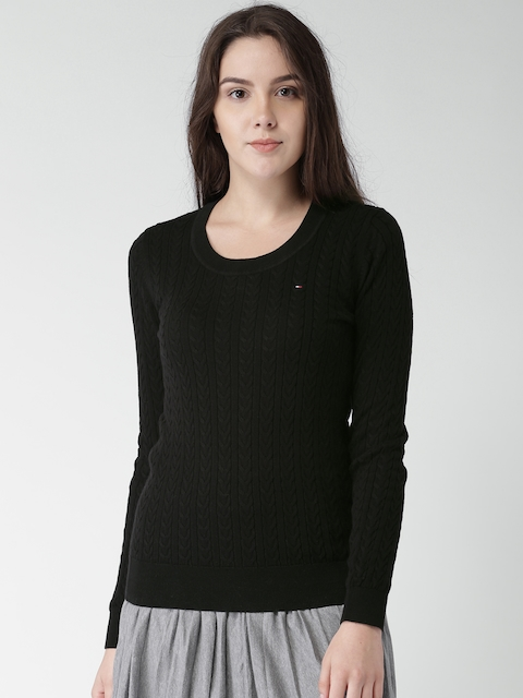 Tommy Hilfiger Women Olive Green Self Design Pullover
