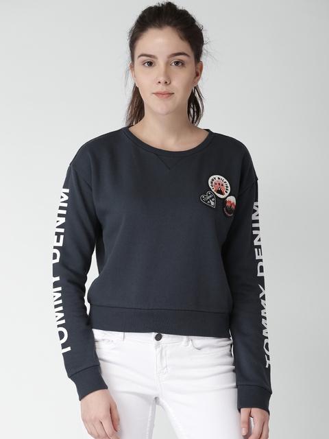 Tommy Hilfiger Women Blue Solid Sweatshirt