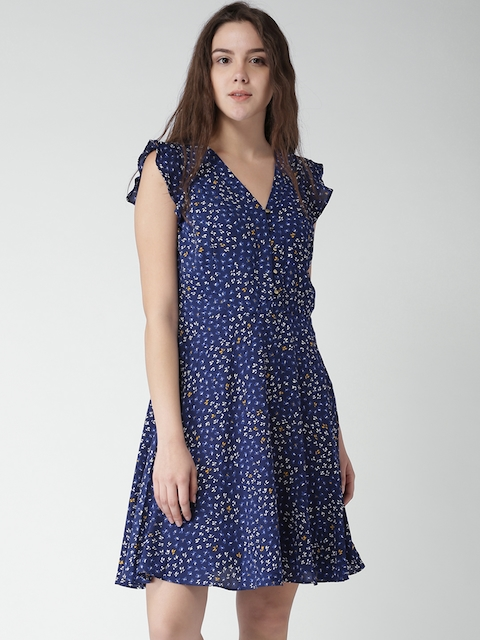 Tommy Hilfiger Women Navy Printed A-Line Dress