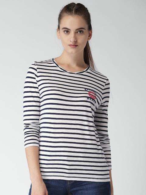 Tommy Hilfiger Women Blue & White Striped Round Neck T-shirt