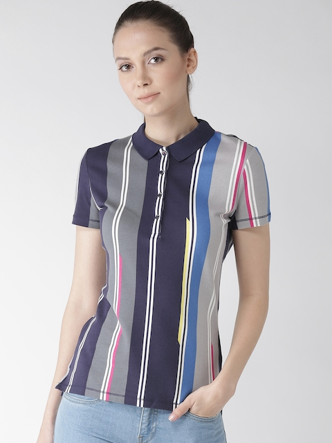 Tommy Hilfiger Women Blue & Grey Striped Polo Collar T-shirt