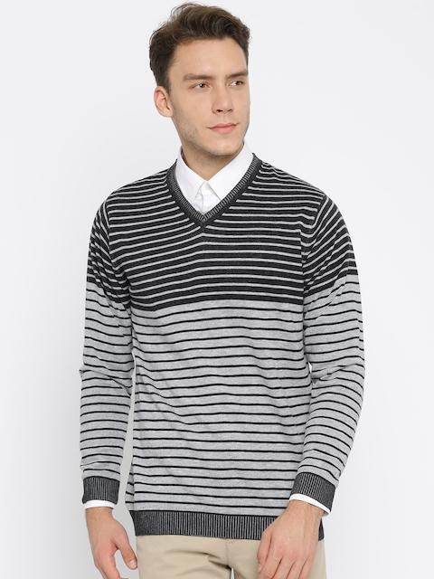 Monte Carlo Men Grey & Black Striped Pullover