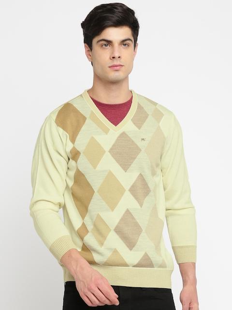 Monte Carlo Men Cream-Coloured Self Design Pullover