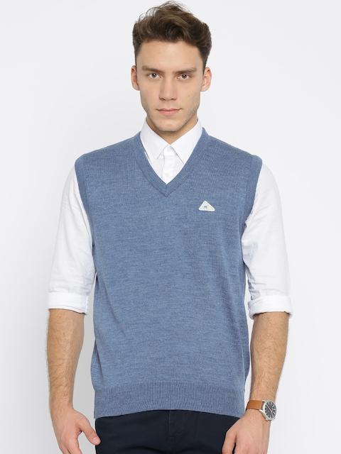 Monte Carlo Men Blue Solid Sweater Vest