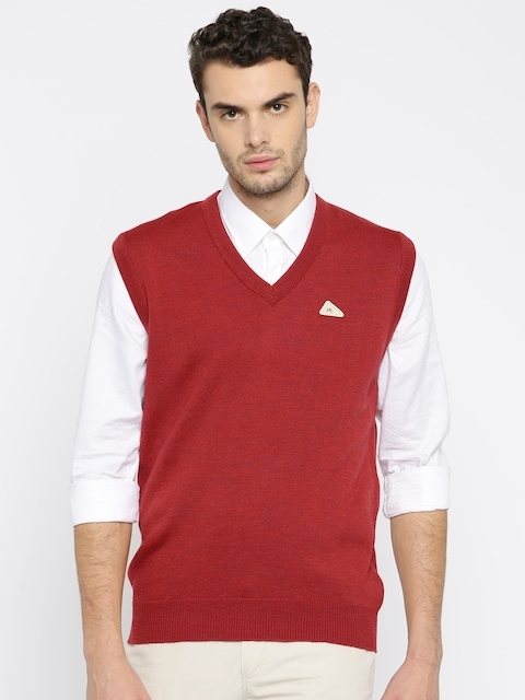 Monte Carlo Men Red Solid Woollen Sweater Vest