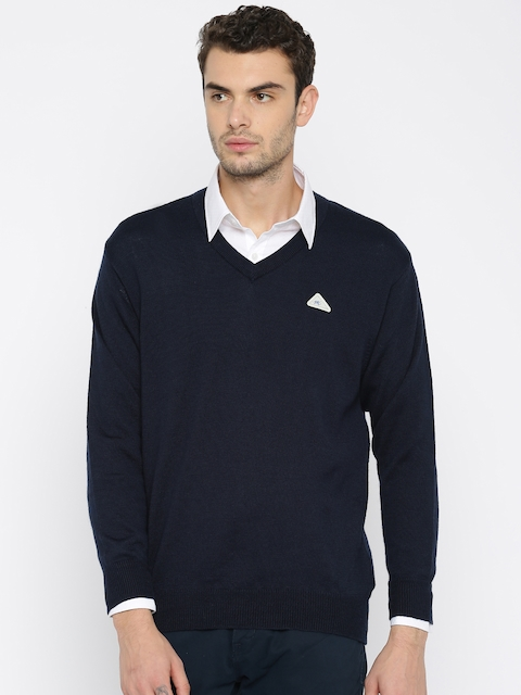 Monte Carlo Men Navy Blue Solid Pullover