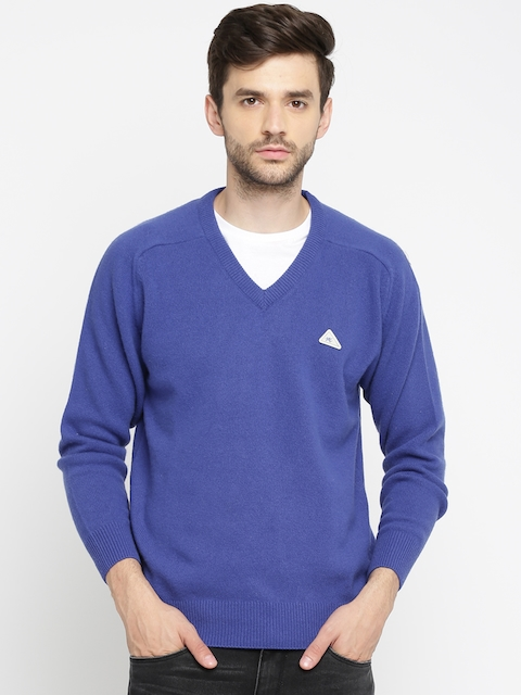 Monte Carlo Men Blue Solid Pullover