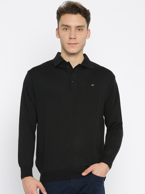 Monte Carlo Men Black Solid Polo Collar T-shirt