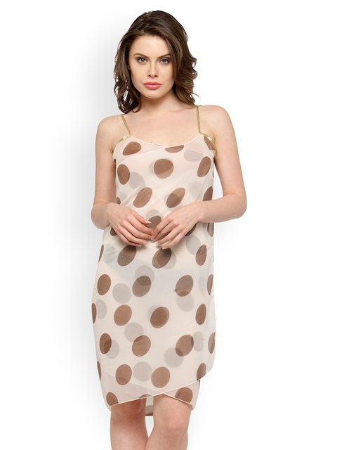 N-Gal Brown Printed Overlapping Cover-Up Dress NYB170